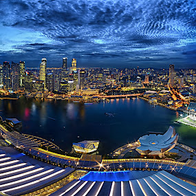 Singapore City @ Blue Hour by Kafoor Sammil - City,  Street & Park  Skylines
