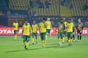 Bafana Bafana players look dejected after the African Cup of Nations match between South Africa and Morocco at Al-Salam Stadium in Cairo, Egypt, on July 1 2019.