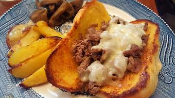 Shaved Steak French Dip with Swiss