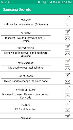 Secret Codes of Samsung Free: 2.3 screenshots 3