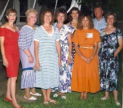 Photo: The reunionettes at the 1990 reunion Carolyn (McGill) Hoelscher, Rosemary (Worthy) Dooley, Carol (Craven) Barnes, Michele (Baldree) Bibb, Marty (McCarley) Hixon, Linda (Wilson) Mitchell, Dickie Kendrick, Pam (Acree) Brown