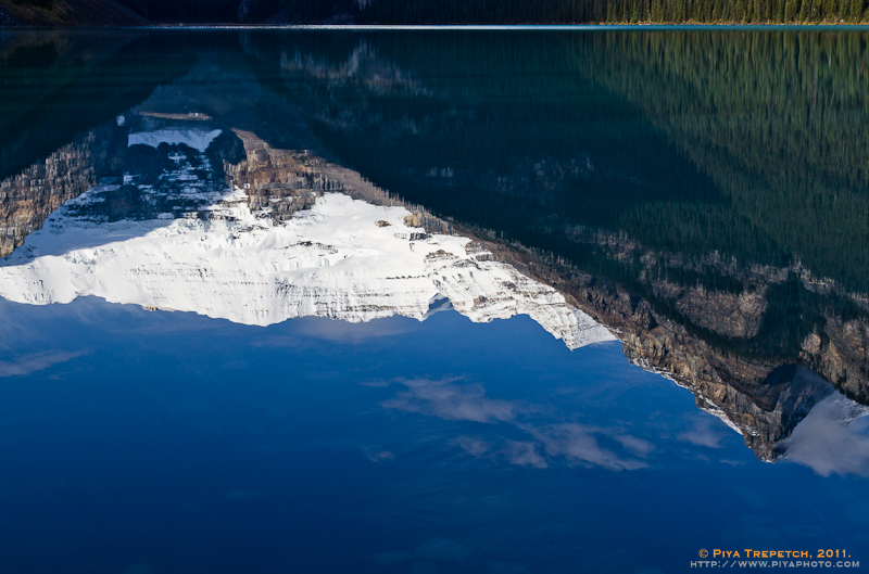 Photo: Victoria Glacier Refelection in Calm Emerald Blue Water of Lake Louise - Banff National Park, Alberta, Canada
