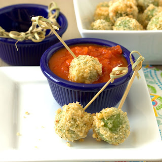 Fried Mozzarella Stuffed Olives.