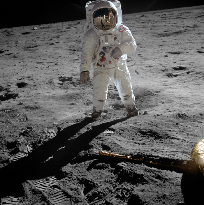 Photo: Edwin Buzz Aldrin på månen. Fotograferad av Neil Armstrong.  Fotocredit: NASA