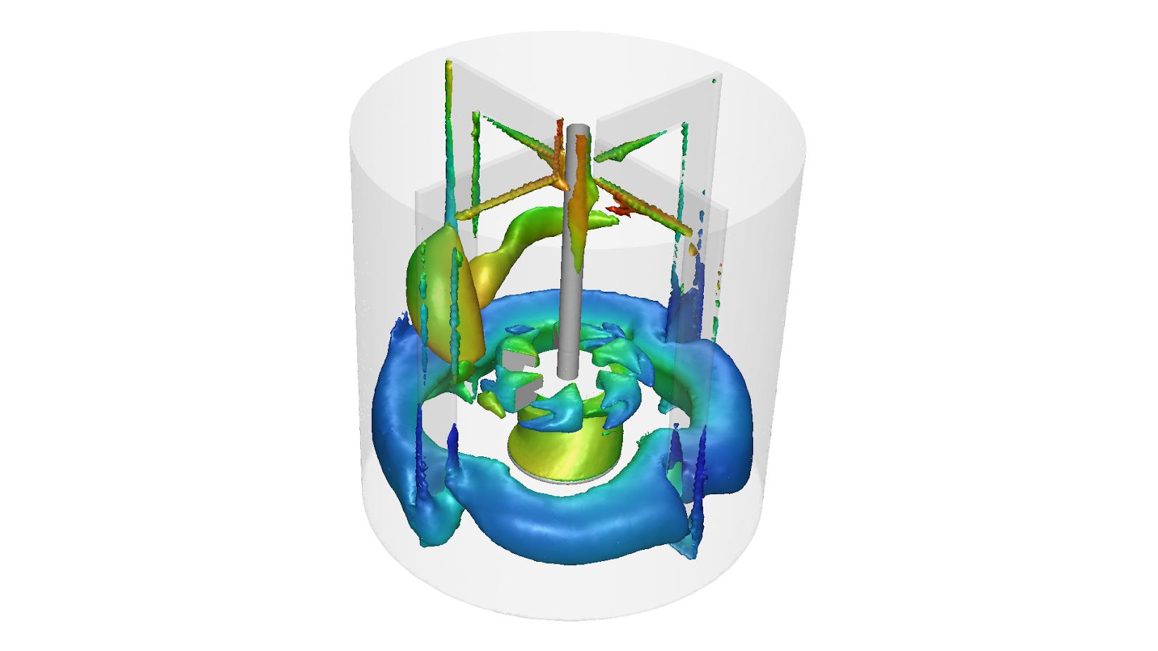 ANSYS | Изоповерхности, показывающие области с одинаковым значением объемной доли газа. Цветом показан средний размеров пузырьков