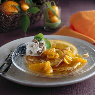 Pancakes mit Mandarinenkompott