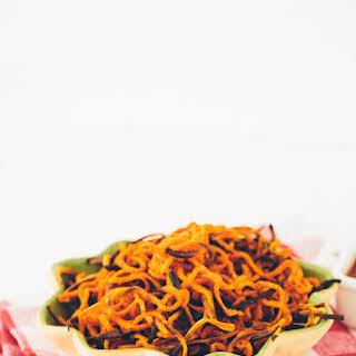 "Spiralized Garlic-Paprika Sweet Potato ""Fries""."