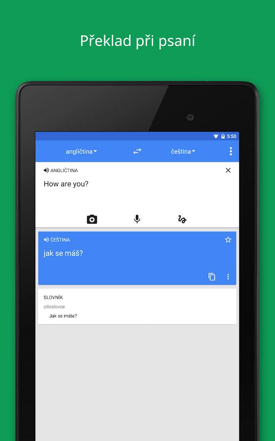 Překladač Google – snímek obrazovky