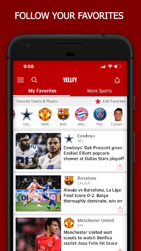 Yellfy Sports - News, Live Scores, Stats & Videos 2.0.7 screenshots 1