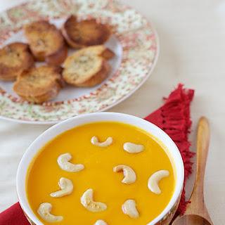 Pumpkin Bell Pepper Lentil Soup With Cashews.
