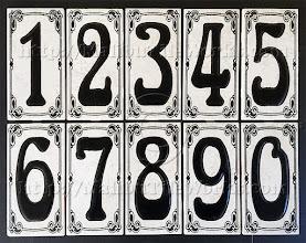 "Photo: Malibu Tile Works - House Number Address Tiles - Antique Stony White - No Border 3"" x 6"" Tiles - Each Sold Separately"