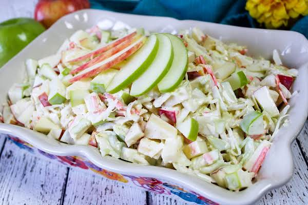 Yummy Apple Cole Slaw In A Serving Dish.