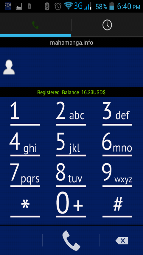 Zemplus Mobile Dialer- screenshot