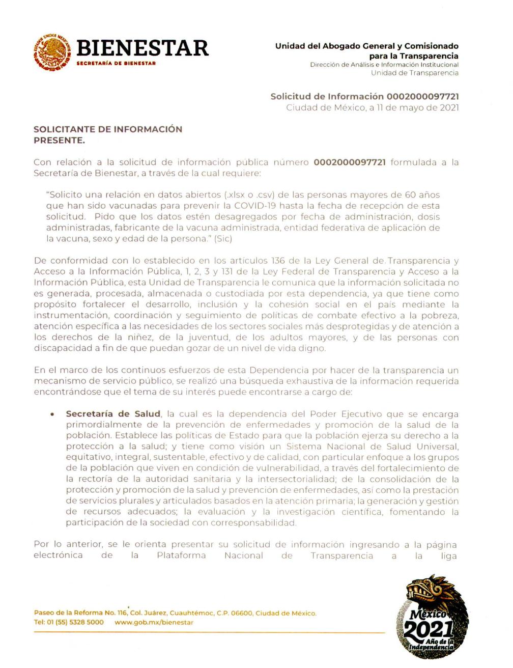 datos de la campaña de vacunación COVID en México