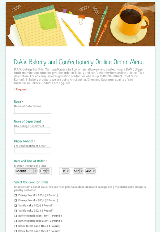D.A.V. Bakery and Confectionery On line Order Menu