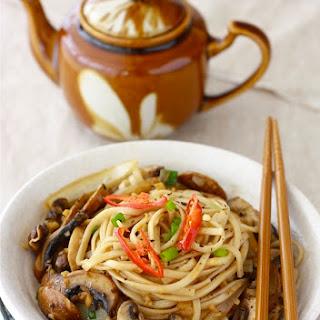 Ramen Noodles with Sautéed Mushrooms.
