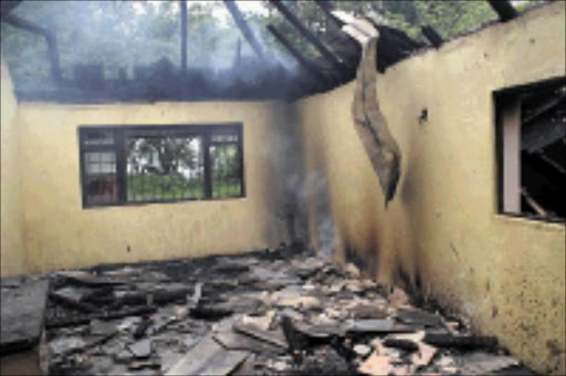 RAZED: Molweni flood victims were temporally staying in this hall that has now been burnt down.09/12/2008. Sowetan. PHOTO: Thuli Dlamini