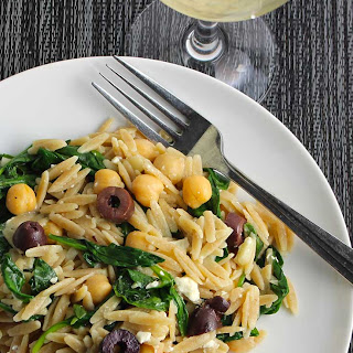 Greek Orzo with Spinach, Olives and Feta.