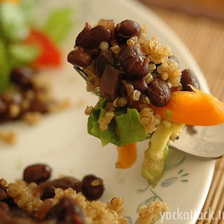 Cuban Style Slow Cooker Beans with Quinoa and Salad