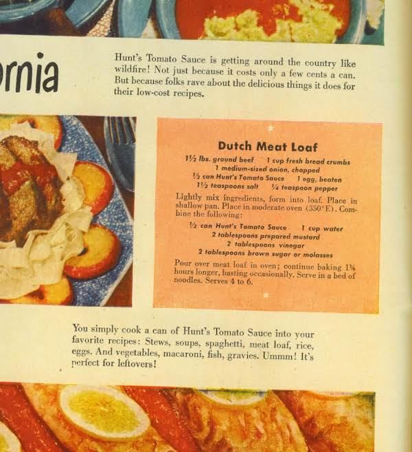 The Recipe In The Ad For Hunts Tomato Sauce Circa 1948