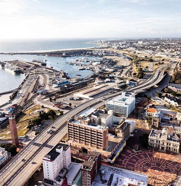 An aerial view of Port Elizabeth's city centre