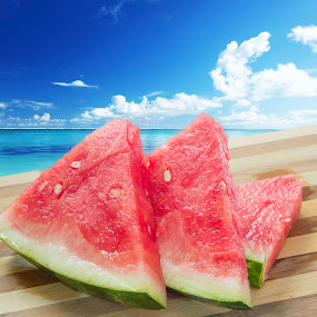 Summer Dreams by Lili Rozet - Food & Drink Plated Food ( holiday, vacation, red, dreams, blue, fresh, food, summer, watermelon, dessert, reflection, reflections, people, places, architecture, building, World_is_Blue, , green )