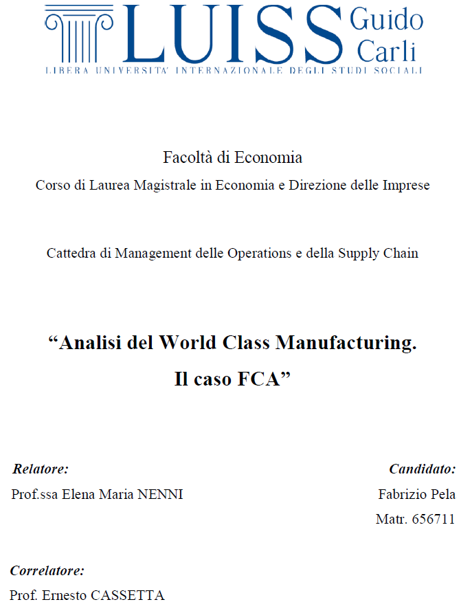 Analisi del World Class Manufacturing