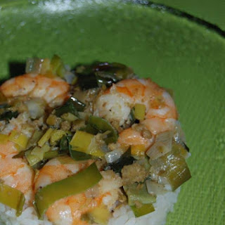 Rice with Cajun Tapenade Shrimp.