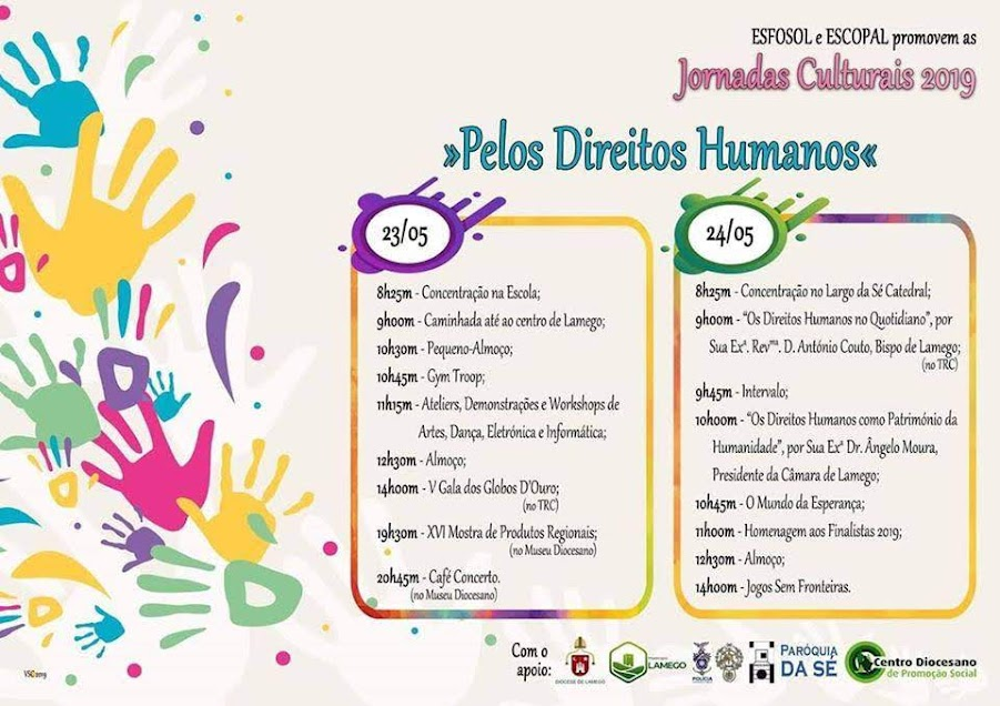 """Jornadas Culturais 2019 """"Pelos Direitos Humanos"""" - 23 e 24 de maio"""