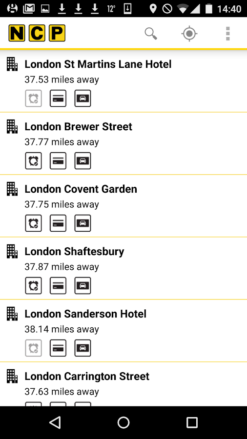 NCP Car Park Finder- screenshot