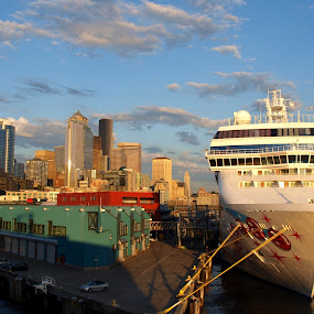 Seattle by Vanessa Latrimurti - City,  Street & Park  Skylines ( different, lighting, seattle, cruise ship, dramatic, perspective, boat, big, dusk, dock )