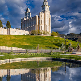 Stately Reflection by Chad Roberts - Buildings & Architecture Places of Worship ( mormon, religion, temple, manti, church, utah, lds,  )