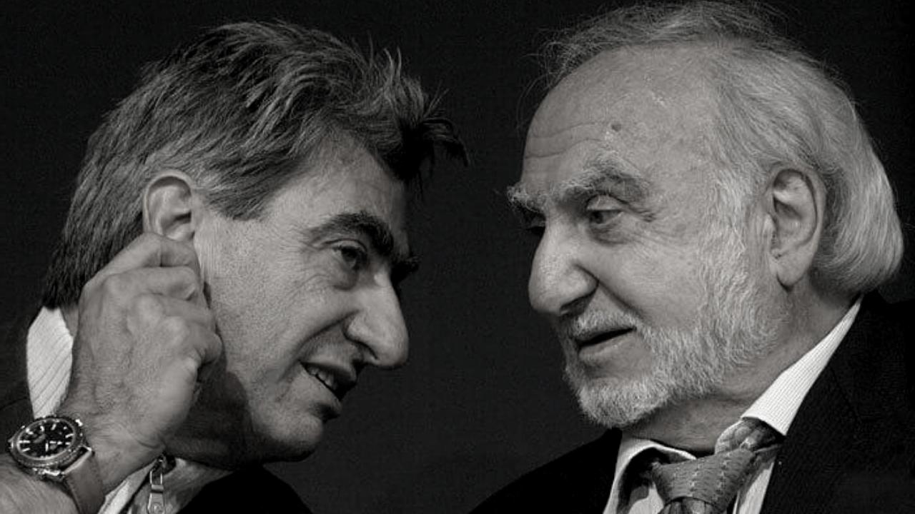 Photograph of Ernst Thomke and Nicolas G. Hayek.