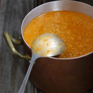 Red Lentil Soup with Sun-Dried Tomato Arugula Pesto