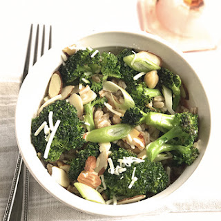 Charred Broccoli Salad with Farro, Chickpeas and Almonds.