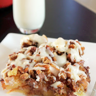 Butter Pecan Bread Pudding with Cream Cheese Glaze.
