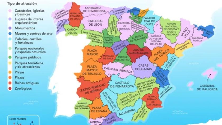 Mapa con las atracciones de cada provincia.