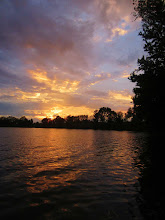 Photo: Beautiful, colorful sunset over a lake at Eastwood Park in Dayton, Ohio.