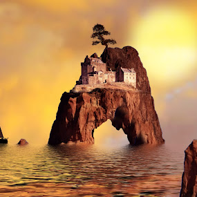 Castle Arch by Charlie Alolkoy - Illustration Places ( arch, sunset, sea stack, ocean, castle )