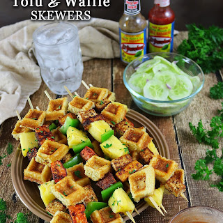 Pan Fried Tofu and Waffle Skewers.
