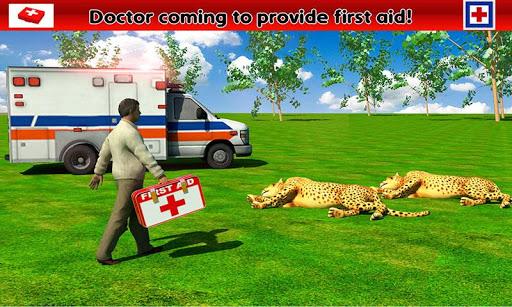 ジャングルの動物の救助救急車