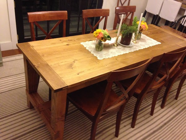 Finished dining table