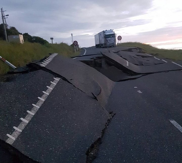 Road damage near Kaikoura