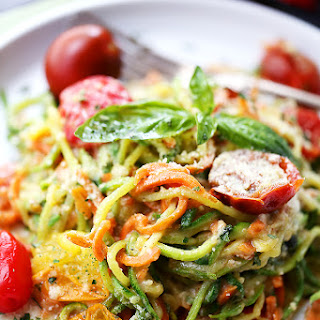 Carrot and Zucchini Noodles in Light Alfredo Sauce.