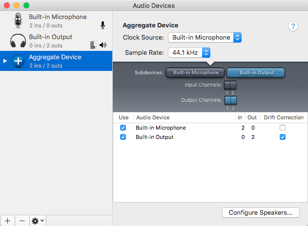 Create Aggregate Device settings