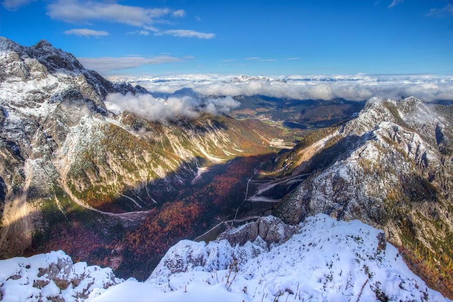 Tamar valley by Ziga Camernik - Landscapes Mountains & Hills ( tamar, hill, mountain, winter, autumn, snow, slovenia, scenic, valley, landscape, alps )