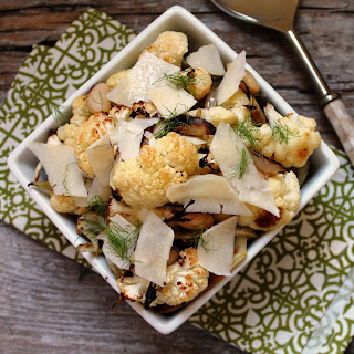 Roasted Fennel and Cauliflower with White Beans and Shaved Parmesan