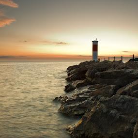 Pier Sunrise by Brad Kalpin - Landscapes Waterscapes