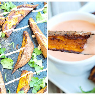 Zesty Roasted Sweet Potato Wedges with Spicy Yogurt Dipping Sauce