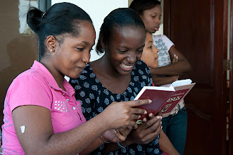Photo: Some of the youth prepare for their Bible skit.
